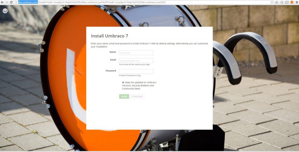 Install Umbraco Page