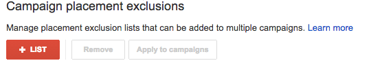 add adwords exclusions list