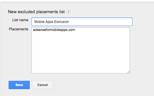 exclude mobile apps from adwords