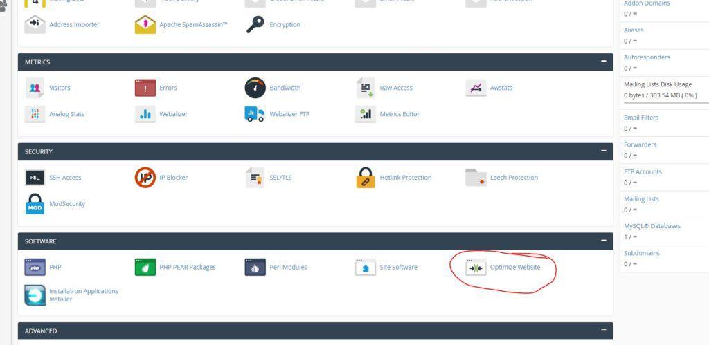 optimize-website-cpanel
